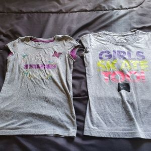 girls size 6 NIKE and Hurley t's purple/gray
